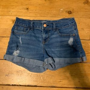 Old Navy denim shorts, slightly ripped effect!
